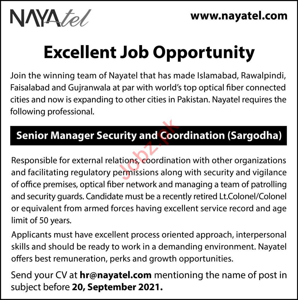 Nayatel Pvt Limited Job 2021 In Sargodha