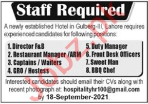Hotel Staff Jobs 2021 in Lahore