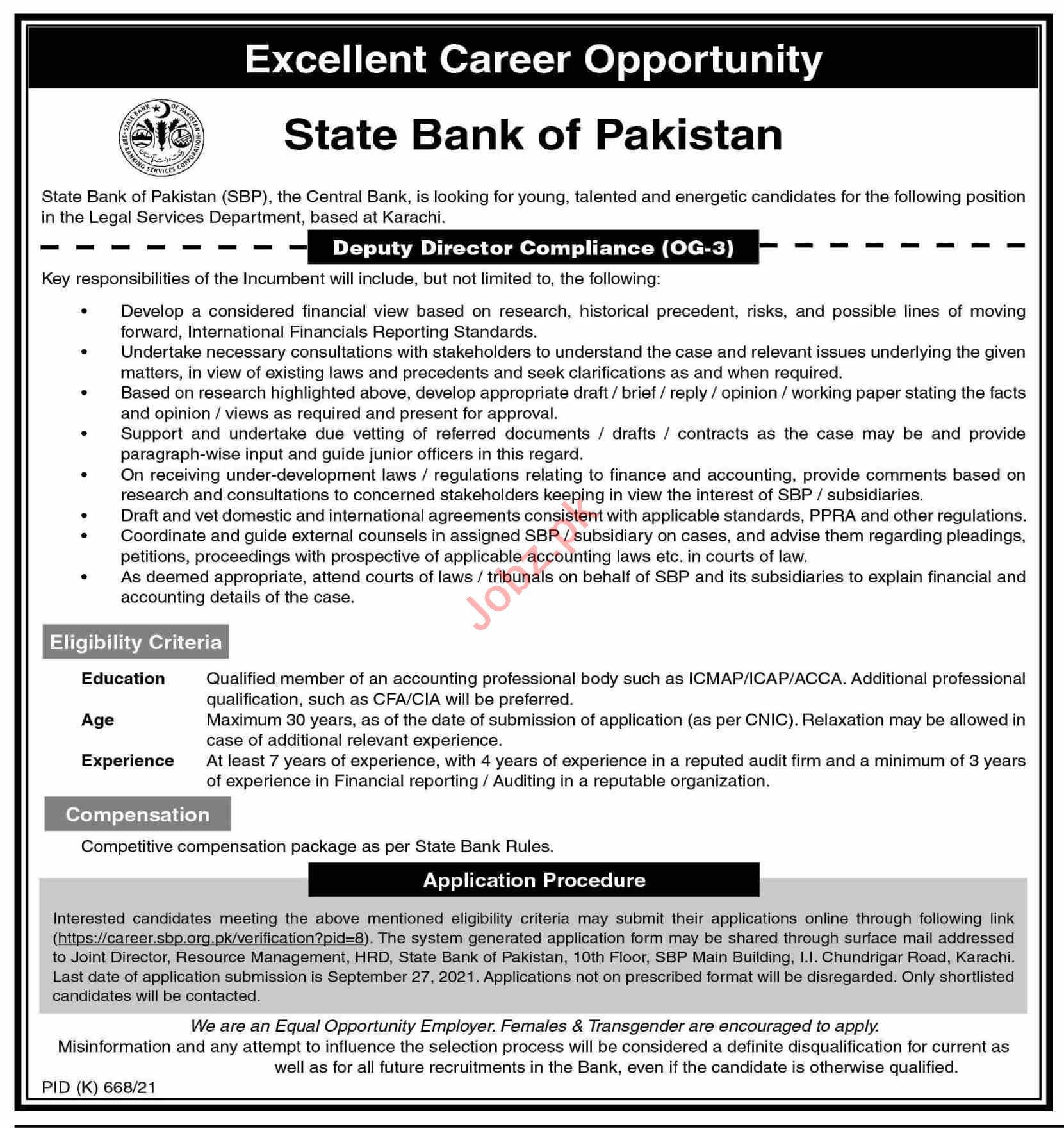 State Bank of Pakistan SBP Jobs 2021 for Deputy Director