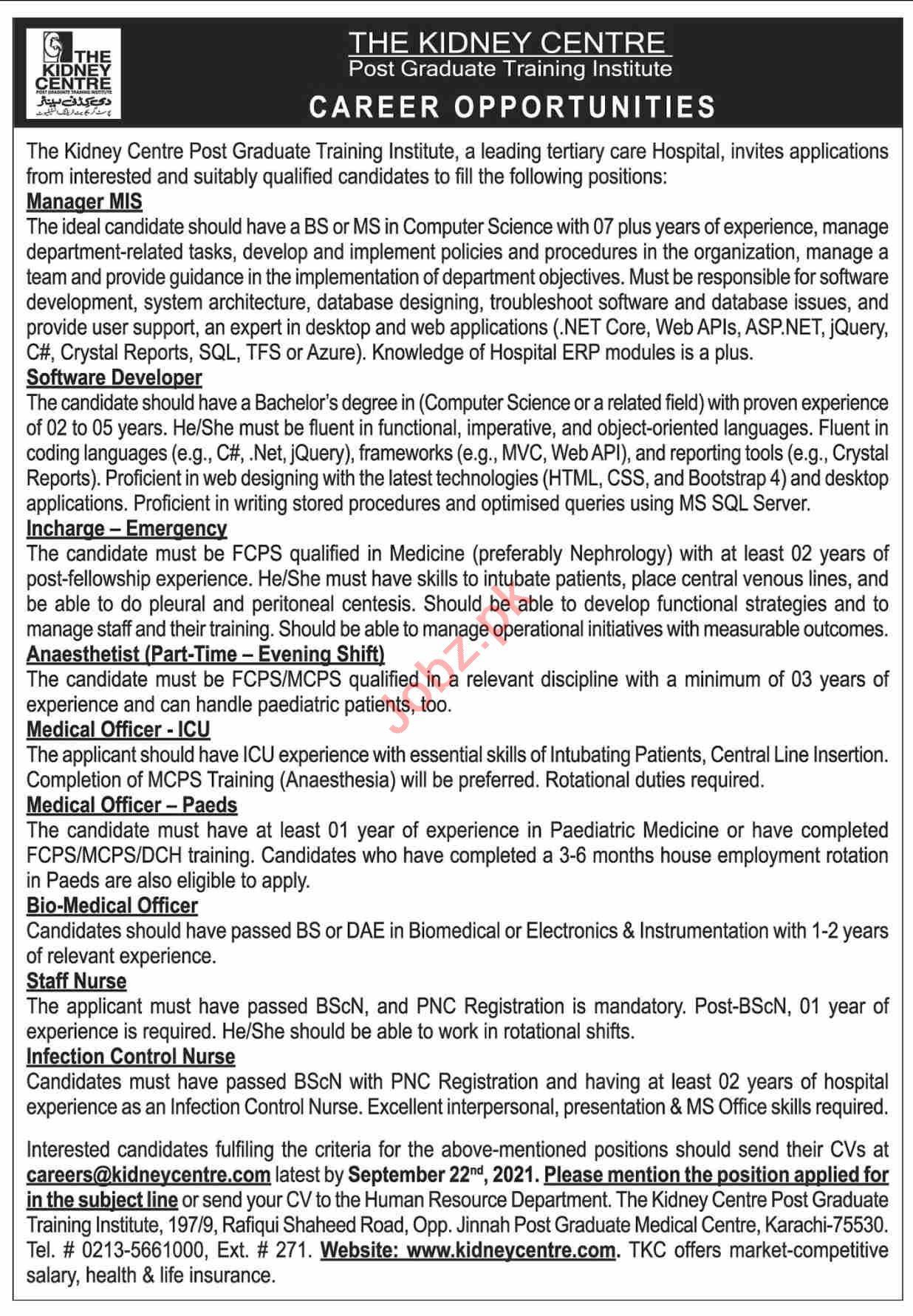 The Kidney Centre Post Graduate Training Institute Jobs 2021