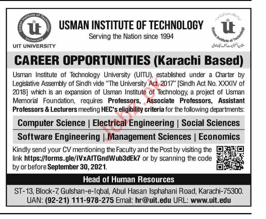 Usman Institute of Technology UIT Karachi Jobs 2021