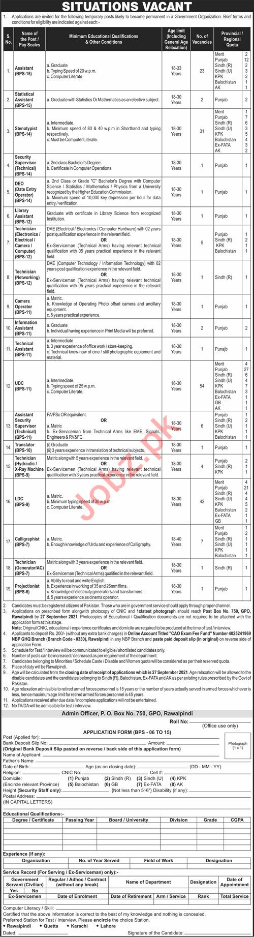 Post Box No 750 GPO Rawalpindi Jobs 2021 for Assistants