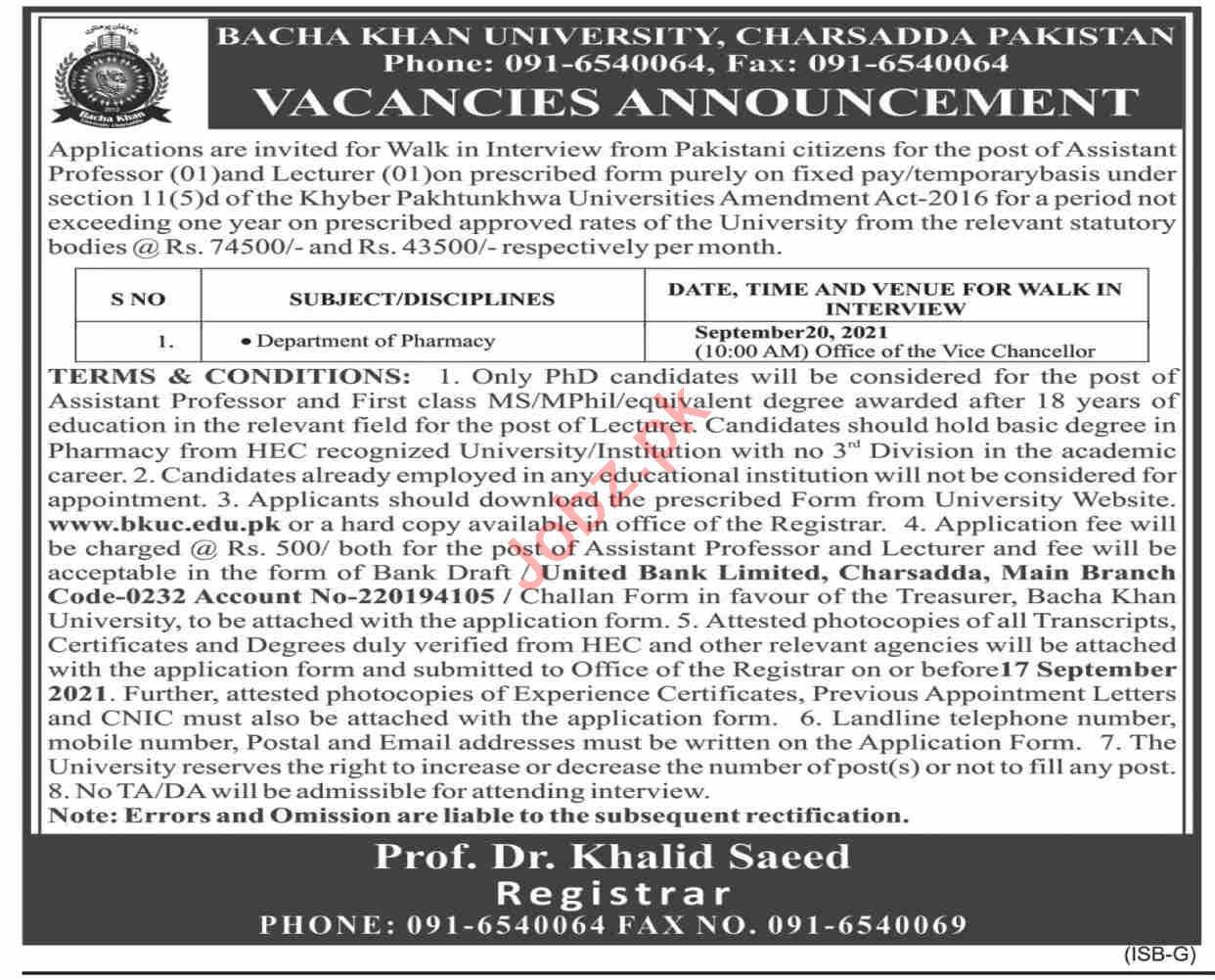 Bacha Khan University Charsadda BKUC Jobs Interview 2021