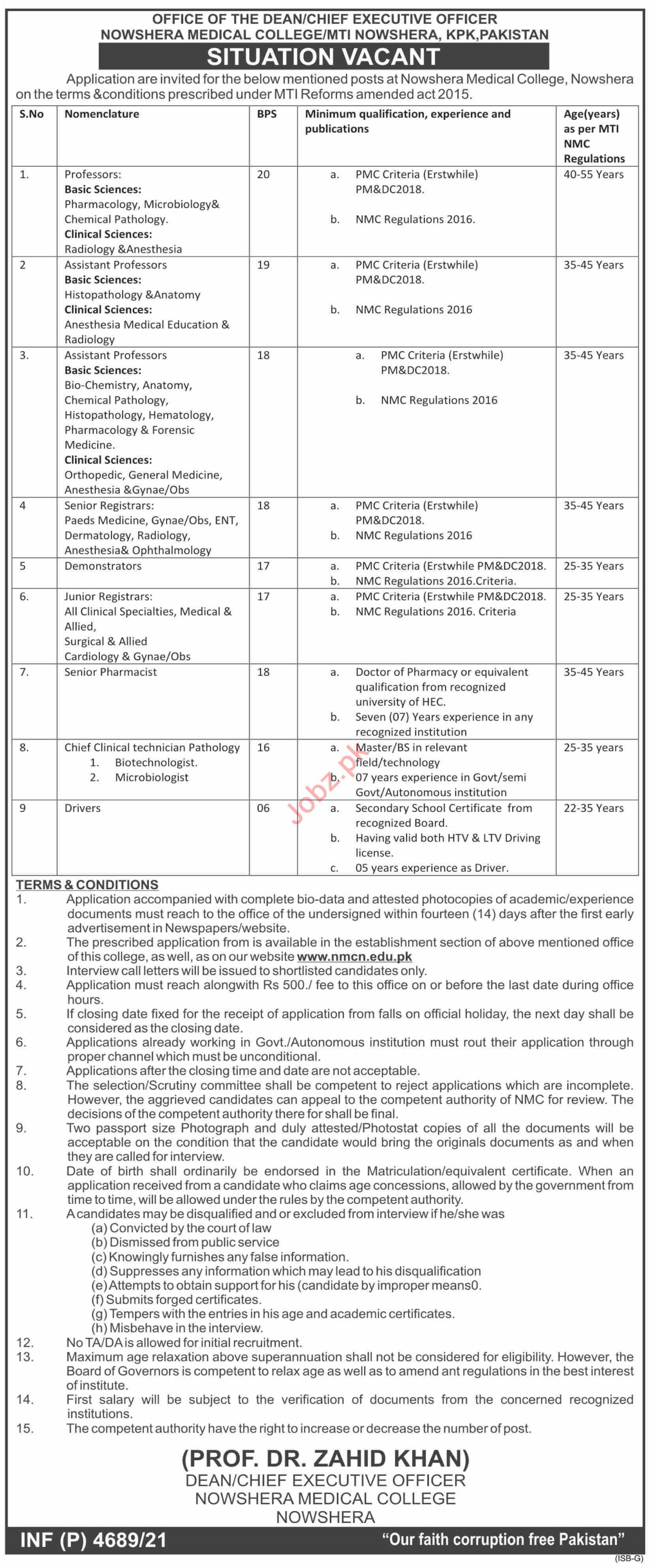 Nowshera Medical College MTI Nowshera Jobs 2021 Professors