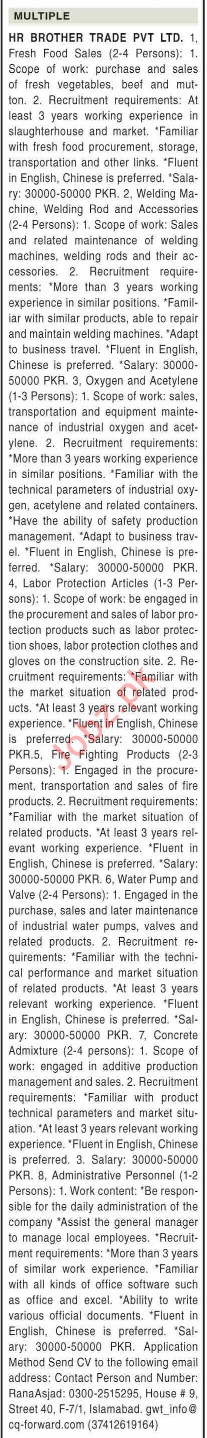 HR Brother Trade Islamabad Jobs 2021 for Food Sales Officer