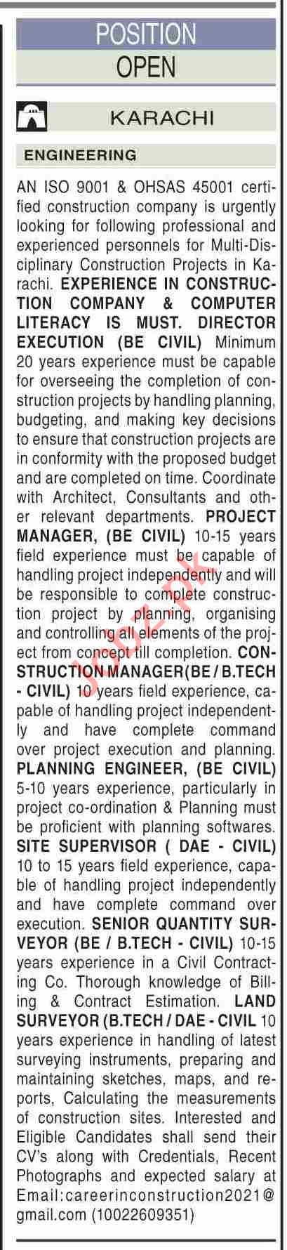 Project Manager & Civil Engineer Jobs 2021 in Karachi