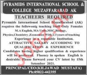 Pyramids International School & College AJK Jobs 2021