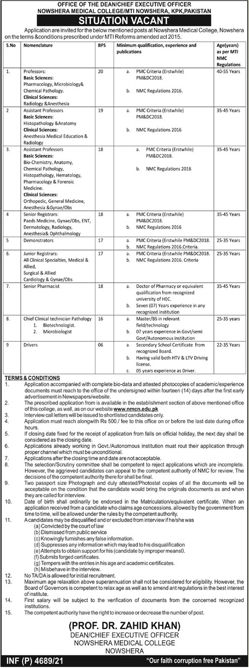 Nowshera Medical College MTI Medical & Faculty Staff Jobs