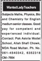 Teaching Staff Jobs in Pak Askaria Model School