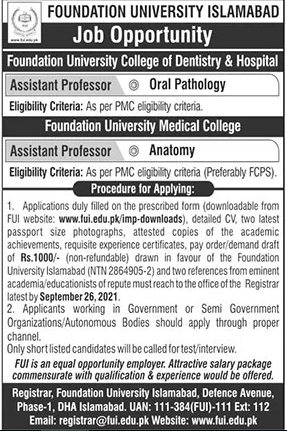 Foundation University Islamabad Assistant Professor Jobs