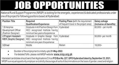 National Rural Support Program NRSP Management Jobs 2021