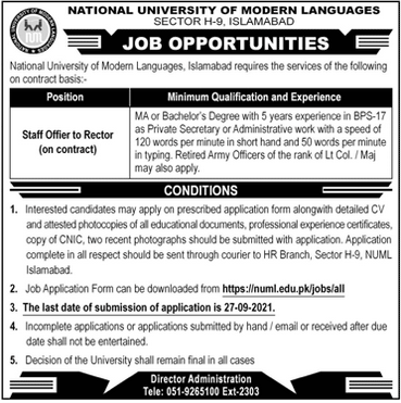 Staff Officer to Rector Jobs in NUML University Islamabad
