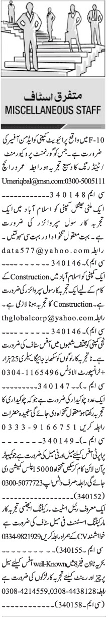 Daily Jang Management Staff Jobs 2021 in Islamabad