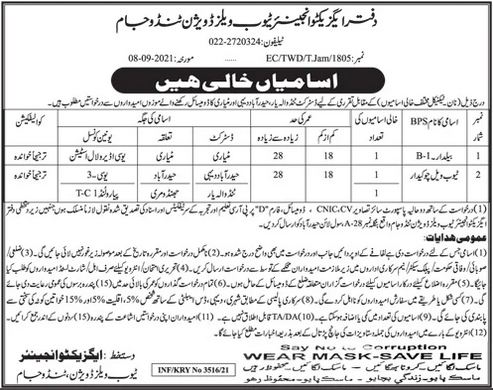 Executive Engineer Tubewell Division Non Technical Jobs 2021
