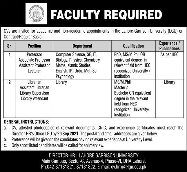 Faculty Staff Jobs in Lahore Garrison University LGU