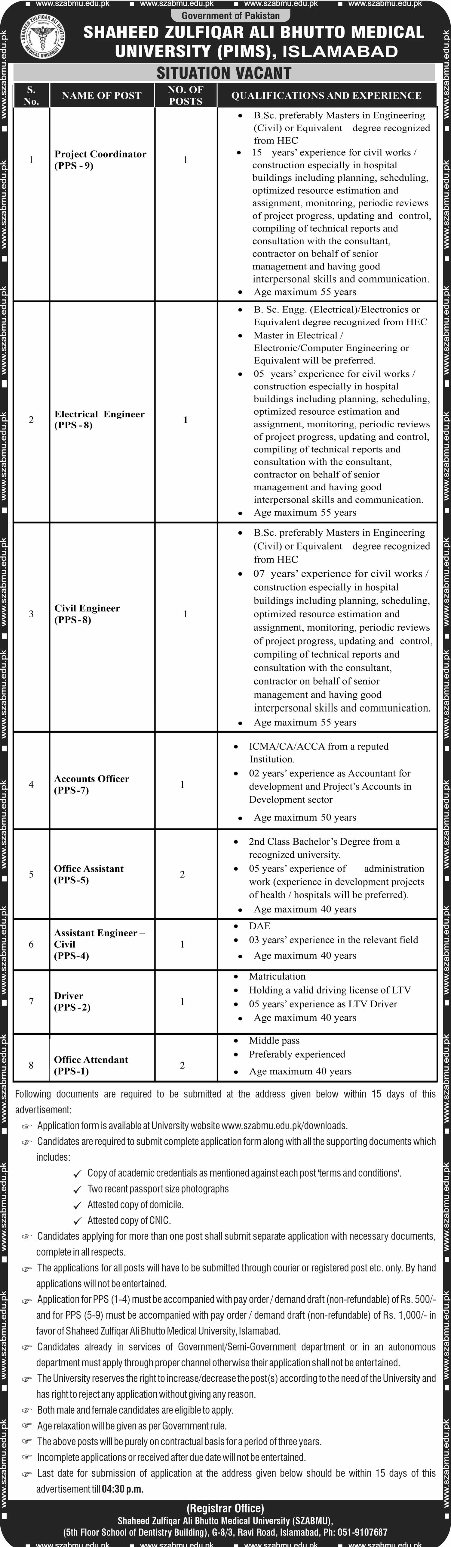 Shaheed Zulfiqar Ali Bhutto Medical University Jobs 2021