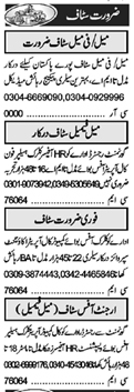Daily Khabrain Management Staff Jobs 2021 in Lahore