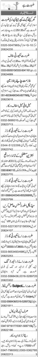 Daily Express Security Staff Jobs 2021 in Islamabad