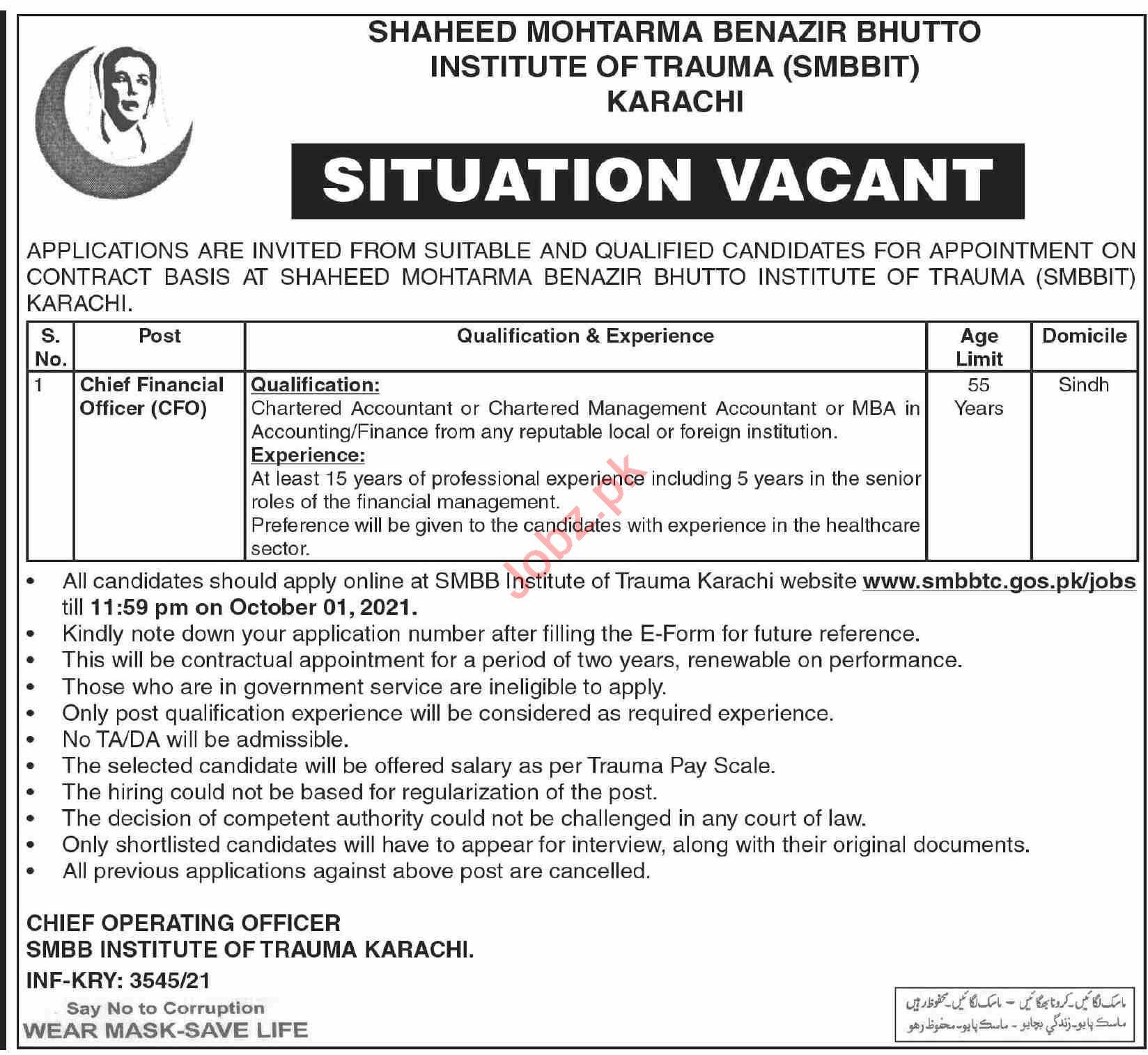SMBB Institute of Trauma Karachi Jobs Interview 2021 for CFO
