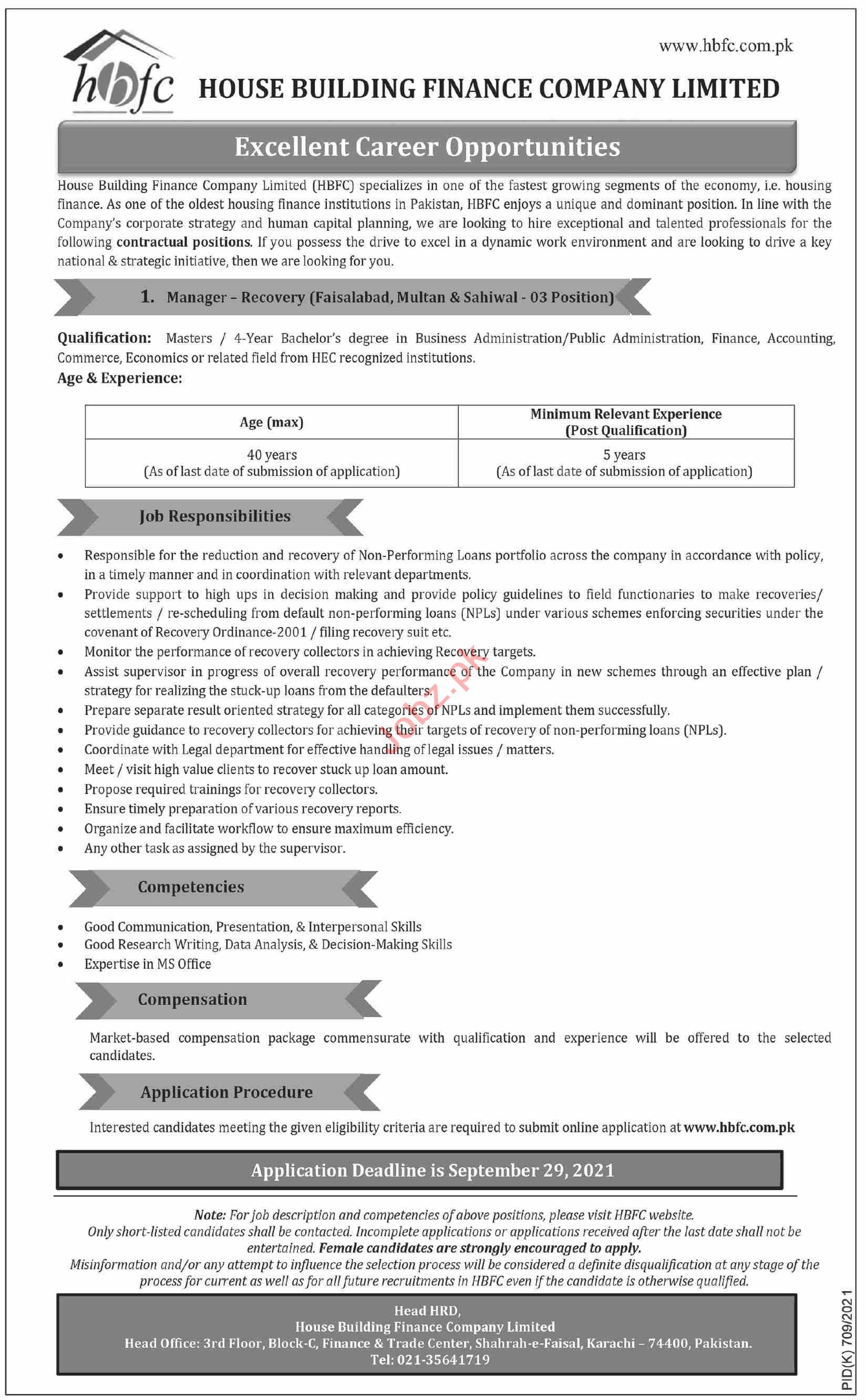 House Building Finance Company HBFC Jobs 2021 for Managers