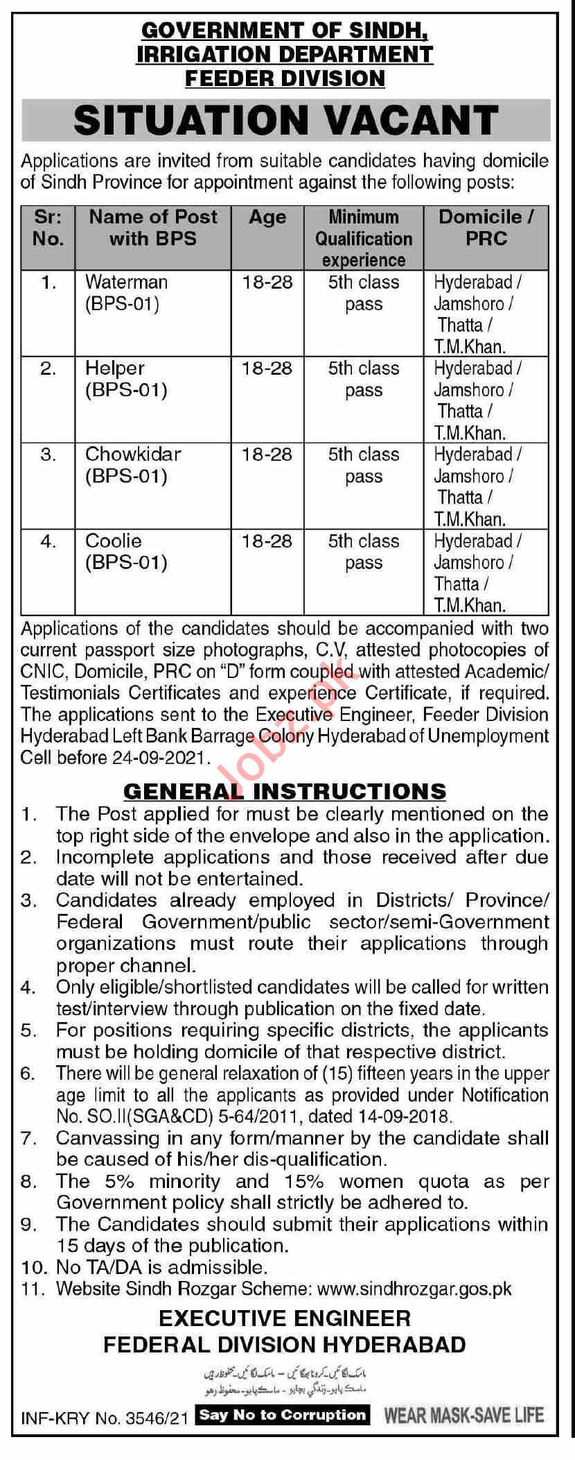 Irrigation Department Feeder Division Hyderabad Jobs 2021