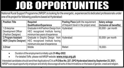 NRSP Hyderabad Jobs 2021