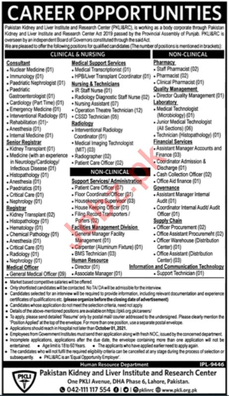 Pakistan Kidney & Liver Institute And Research Centre Jobs