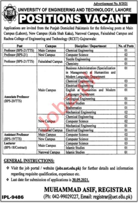 University of Engineering & Technology UET Faculty Jobs 2021