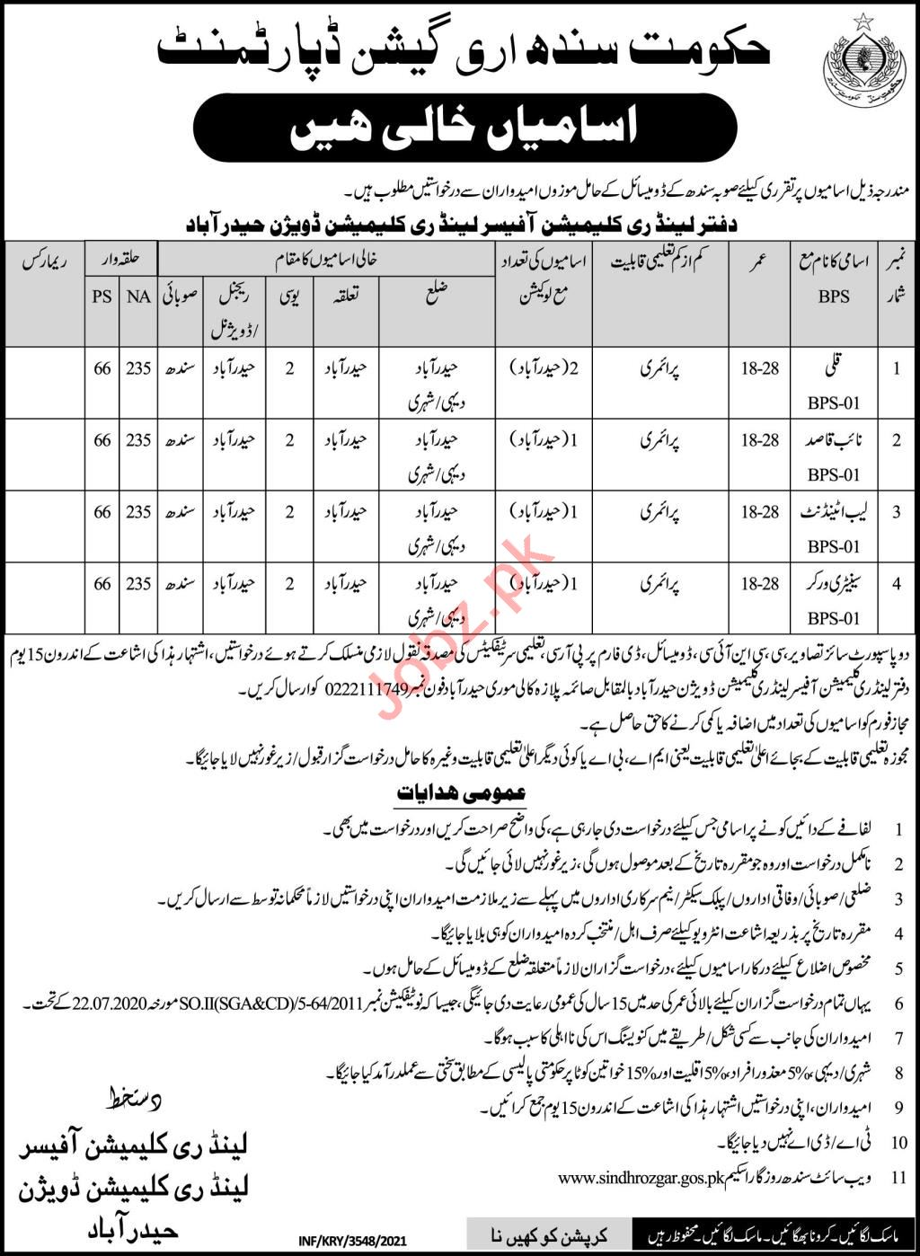 Land Reclamation Division Hyderabad Jobs 2021 Lab Attendant
