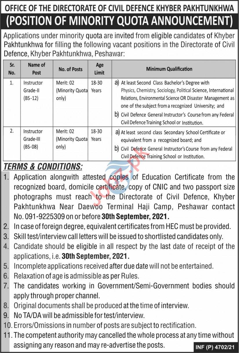 Directorate of Civil Defence Peshawar Jobs 2021 Instructors