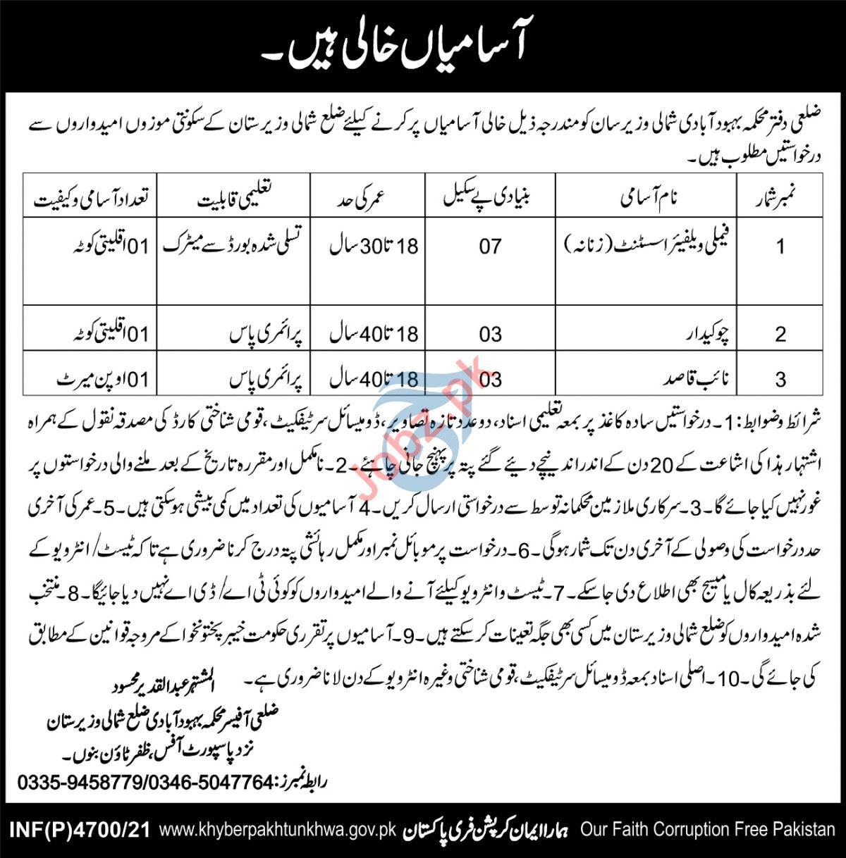 Population Welfare Department PWD North Waziristan Jobs 2021