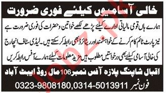 Lady Staff Incharge & Finance Officer Jobs 2021 Abbottabad