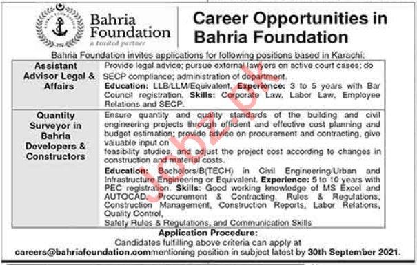 Bahria Foundation Karachi Jobs 2021 Assistant Legal Advisors