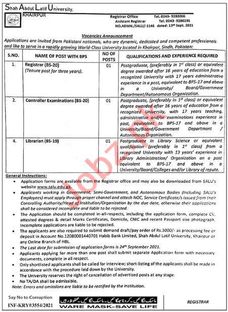 Shah Abdul Latif University SALU Khairpur Jobs for Registrar