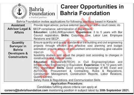 Bahria Foundation Karachi Jobs 2021 for Quantity Surveyor