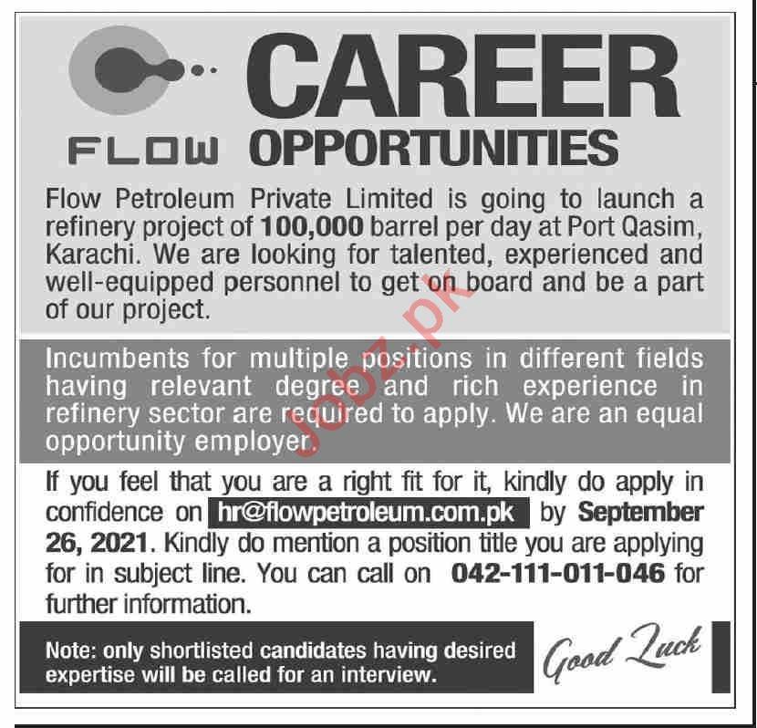 Flow Petroleum Lahore Jobs 2021 for Office Staff