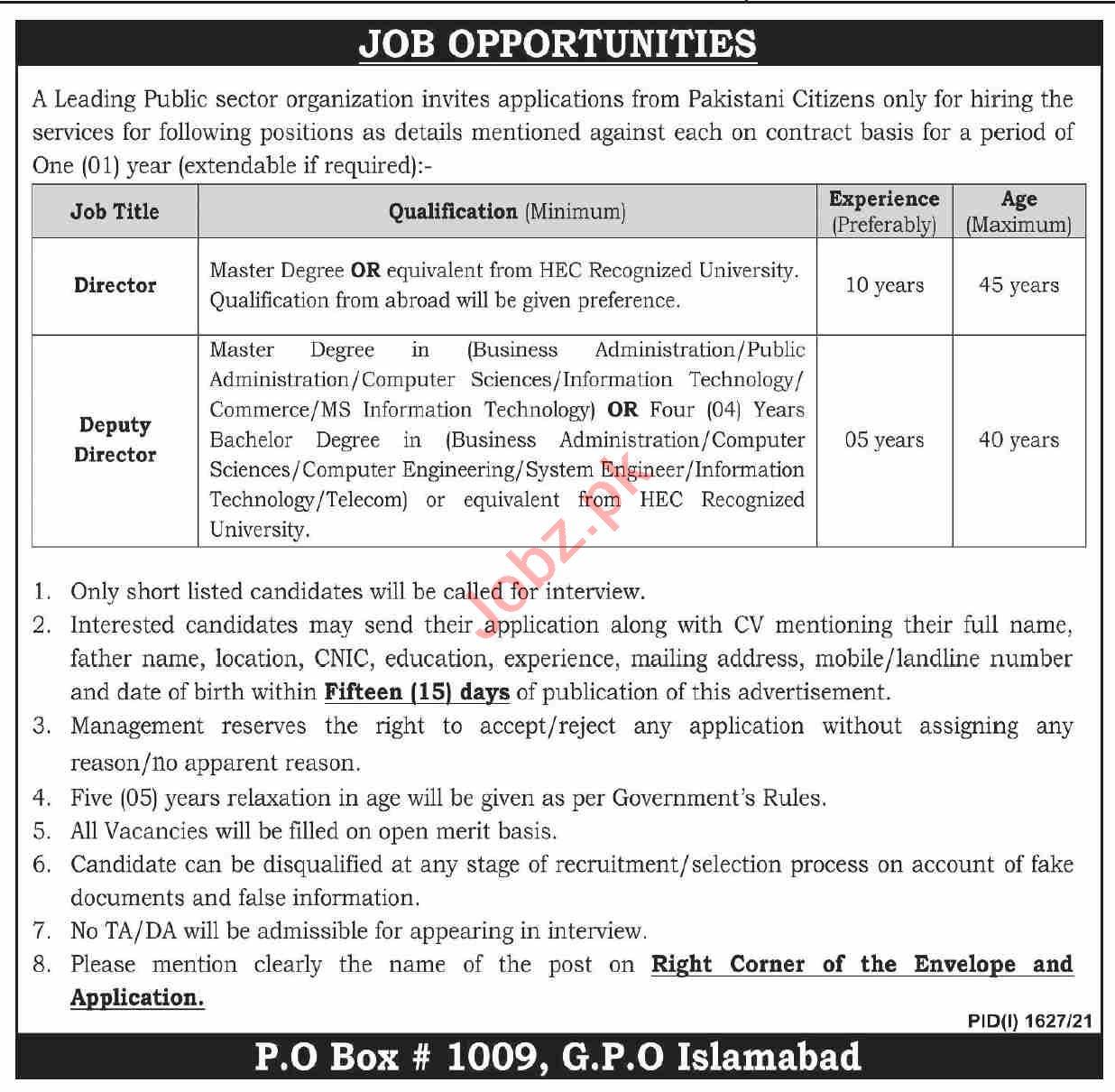 P O Box No 1009 GPO Islamabad Jobs 2021 for Director