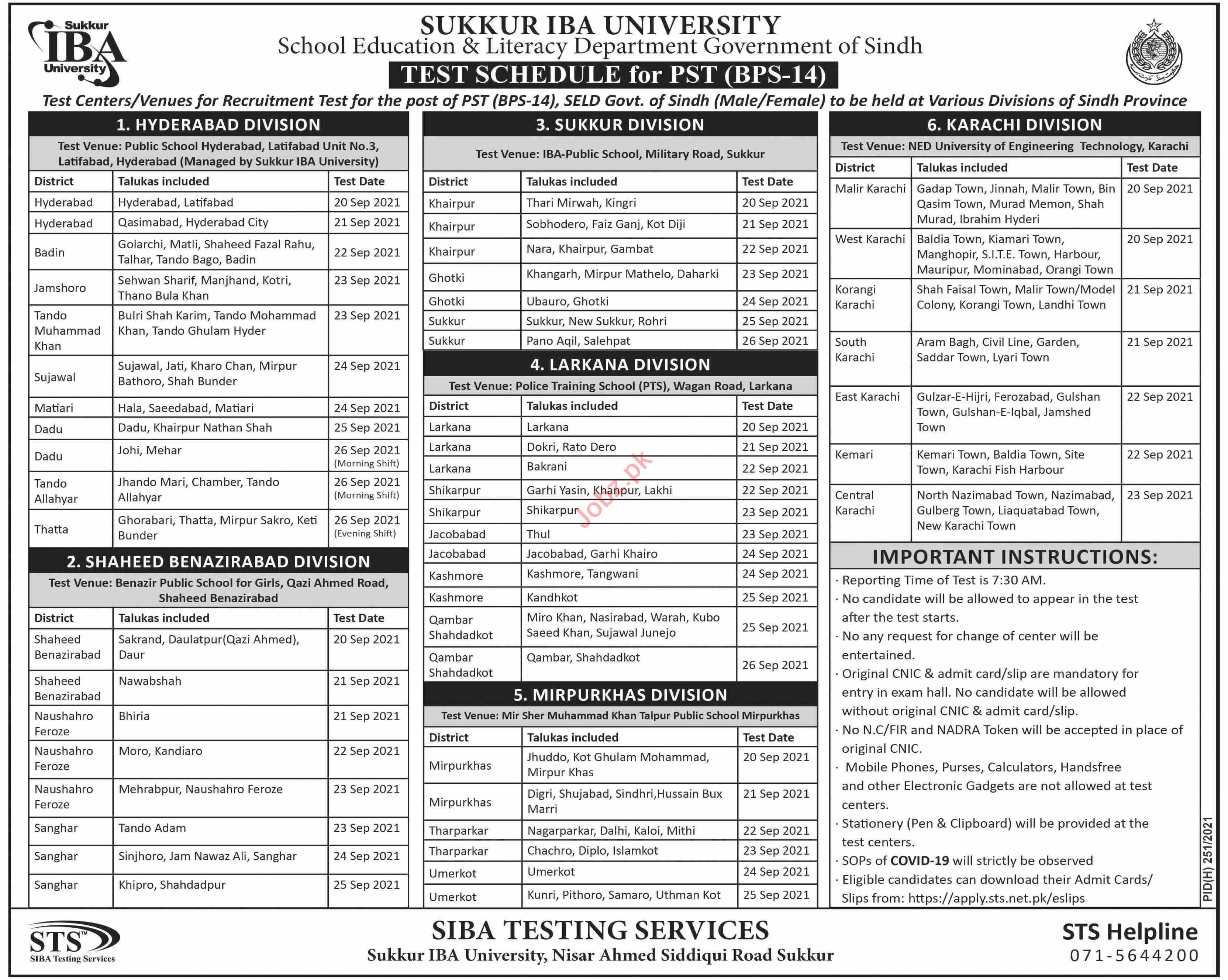 Sukkur IBA University Sukkur Jobs Test 2021 for PST Teacher