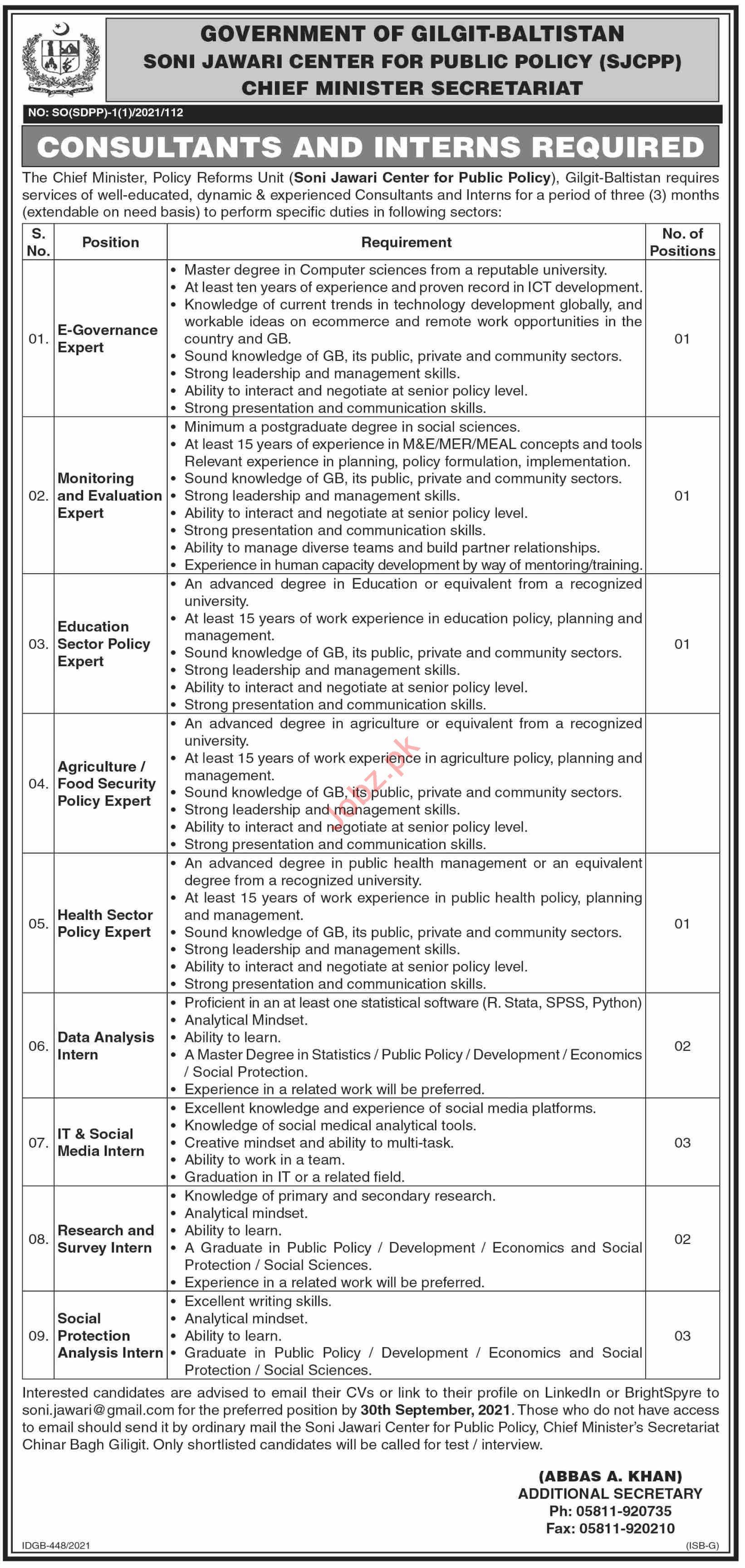 Soni Jawari Center for Public Policy SJCPP Gilgit Jobs 2021