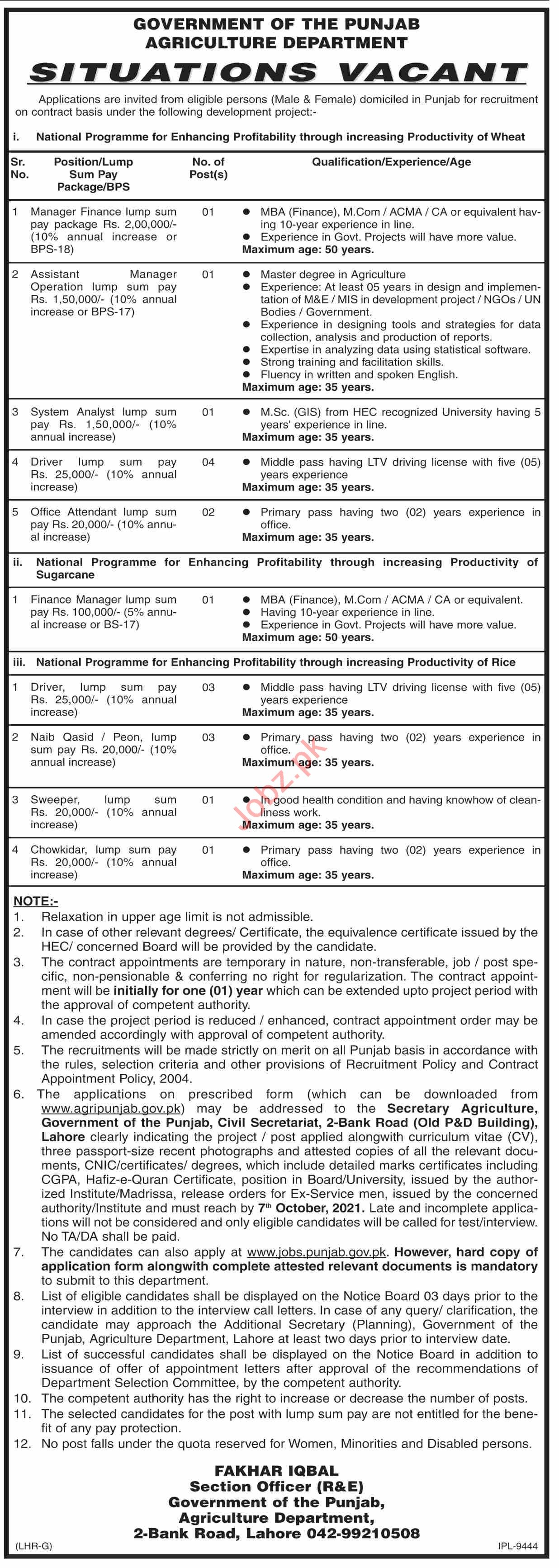 Agriculture Department Punjab Jobs 2021 for Managers