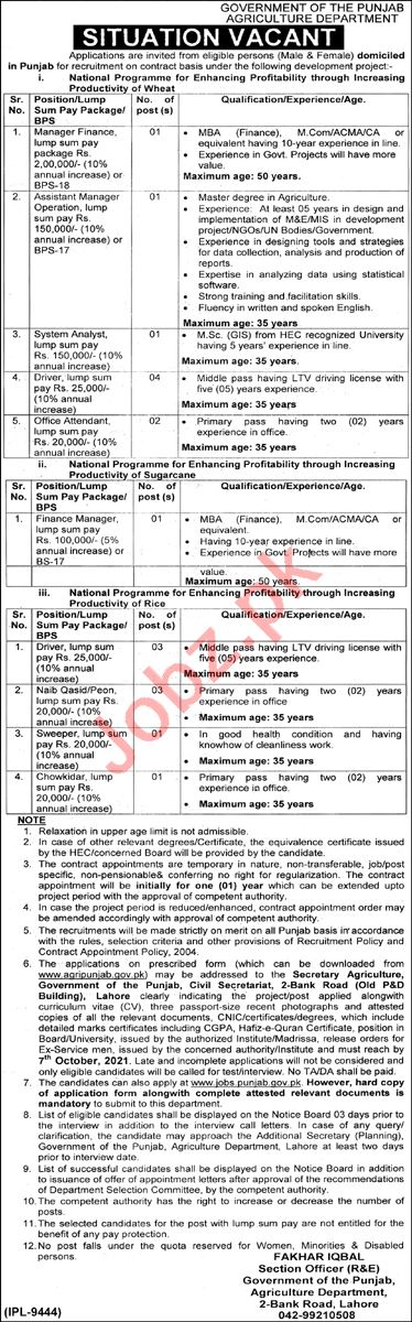 Agriculture Department Punjab Jobs 2021 Assistant Manager