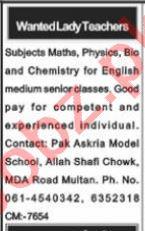 Lady Teacher & Subject Teacher Jobs 2021 in Multan