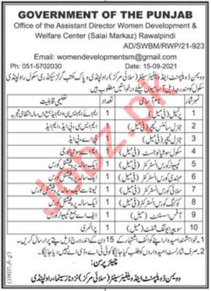 Women Development & Welfare Center Rawalpindi Jobs 2021