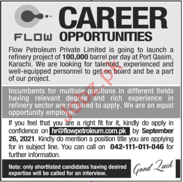 Flow Petroleum Lahore Jobs 2021 for General Staff