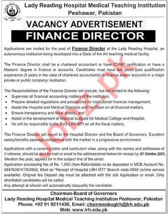 Lady Reading Hospital LRH MTI Peshawar Jobs 2021 Directors