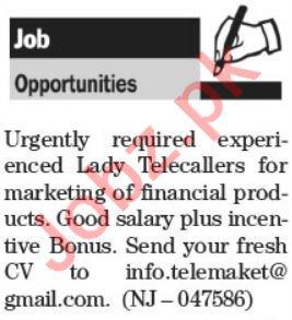 Lady Telecallers & Telephone Operator Jobs 2021 in Karachi