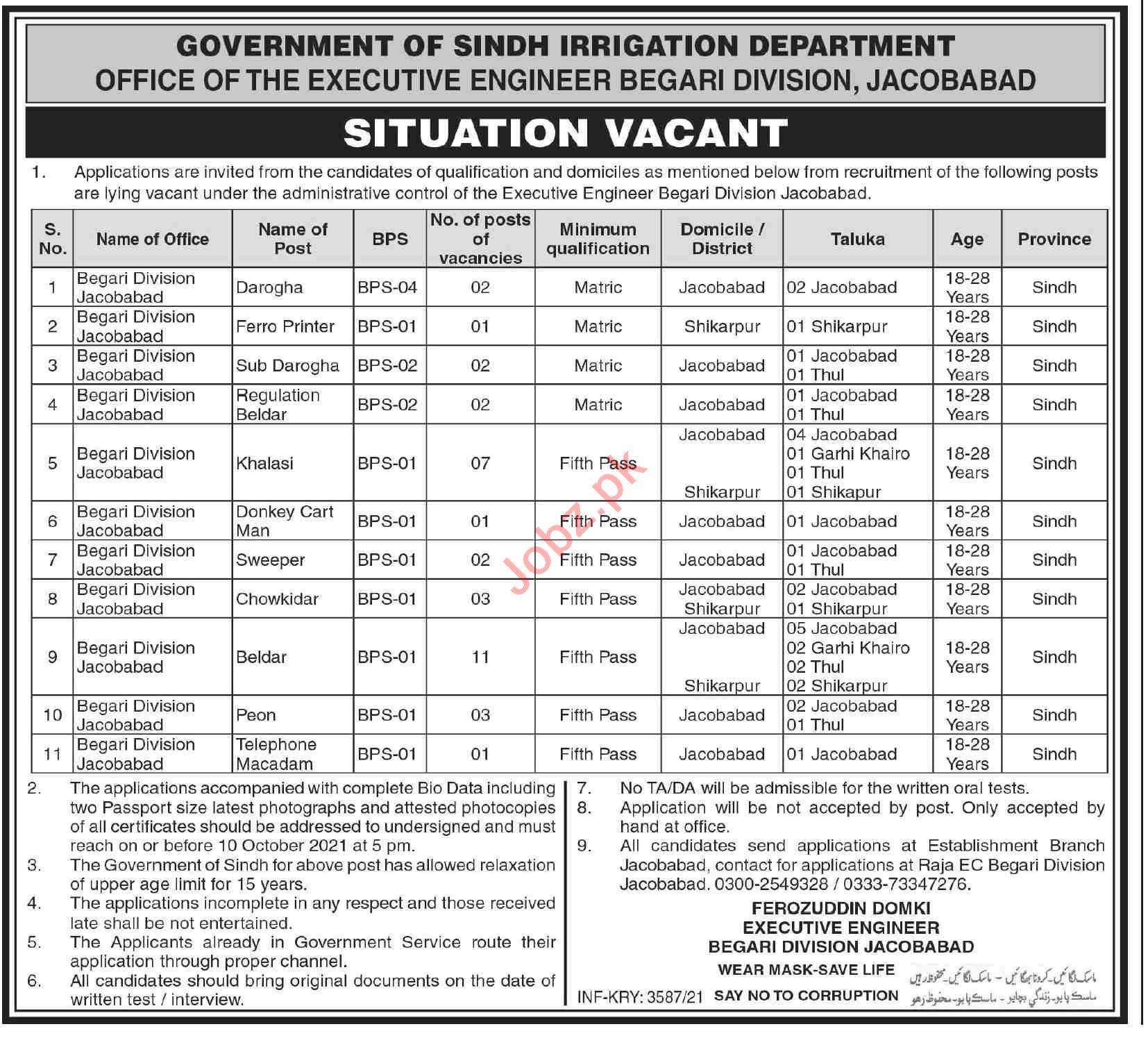 Irrigation Department Begari Division Jacobabad Jobs 2021