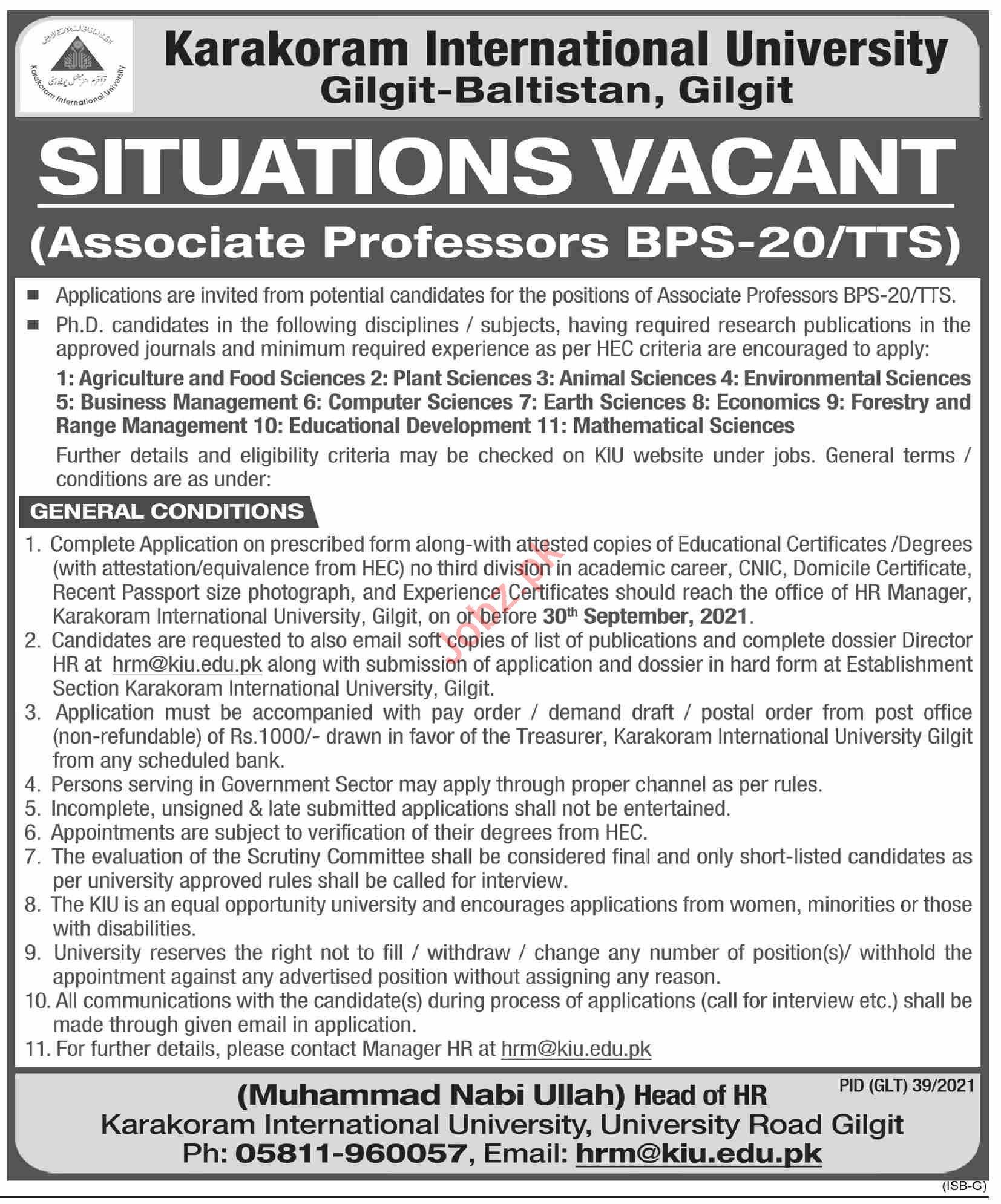 Karakoram International University Jobs 2021 for Professors