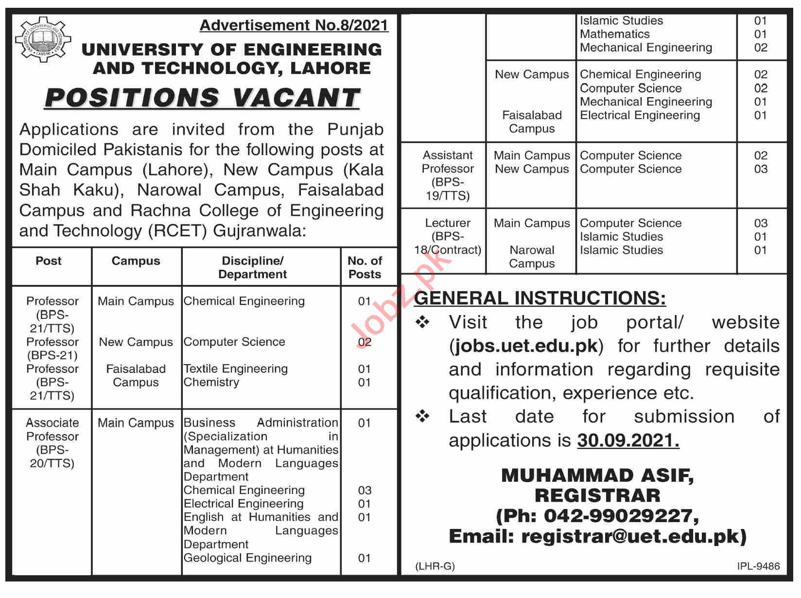 Rachna College of Engineering & Technology Gujranwala Jobs