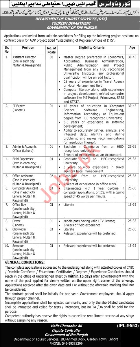 Department of Tourist Services DTS Lahore Jobs 2021